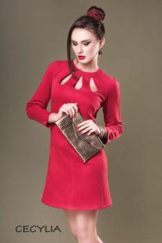 Sukienka wieczorowa Dagnez aksamitka czerwona krotka