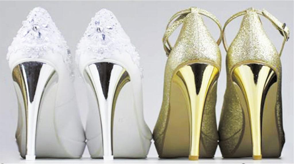 srebrne i złote obcasy obuwie ślubne